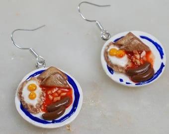 Kitschy breakfast plate earrings, cute kawaii food jewelry