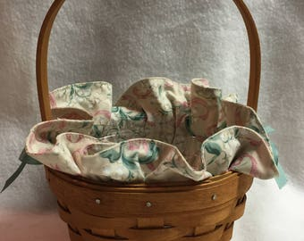 Longaberger 1993 Basket with Teal and Pink Fabric Liner and Wood Handle (#012)