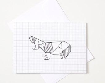 Greeting Card - Origami Animal / Hippo