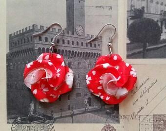 Red Bunny Print Origami Flower Earrings