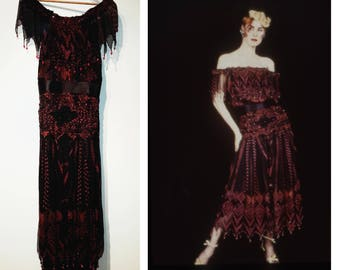 Very rare Zandra Rhodes 'Diana' dress from 1986 Images of Women collection size XS