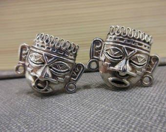 Unique Vintage Mayan/Tribal Warrior Mask Silver Cufflinks