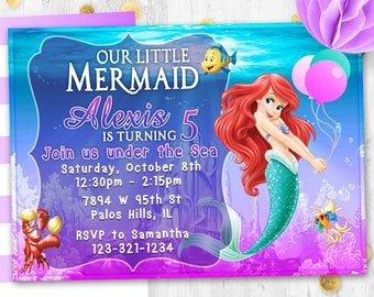 Little mermaid Ariel Birthday invitation card invite Birthday party invitation