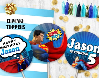 Superman Cupcake toppers Circles Cake toppers Superman birthday table decor