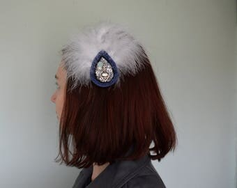 Blue lace trimmed feathered fascinator, Headpiece, Opulent hair clip, moonstone fascinator formal hairpiece