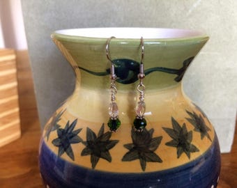 Green Glass, Silver Plated Rodelle and Glass Accent bead Dangle earrings with Nickle Free Headpins and Ear Wires