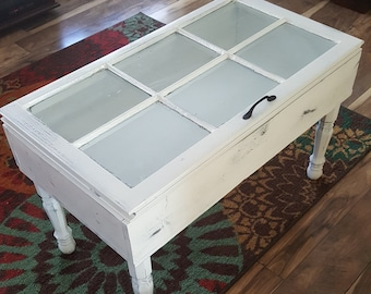 White Antique Window Coffee Table