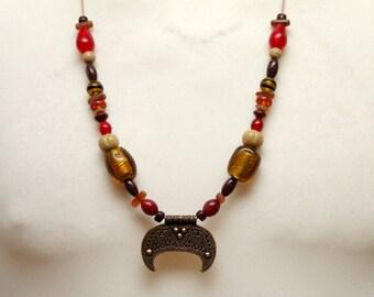 Chain, lunula, amulet, glass beads, HornperlenWikinger, replica, reenact, middle ages, LARP, Slaven, Moon