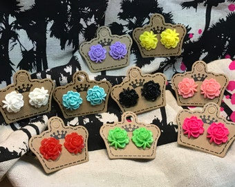 Handmade Flower Stud earrings *Buy 2 pairs and get the 3rd pair for FREE*
