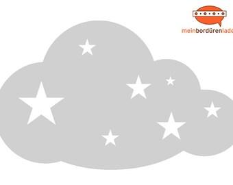Wandtattoo: Wolke mit Sternchen   Wandsticker, Wandaufkleber, Wandgestaltung, Wolke für Babyzimmer, Kinderzimmer