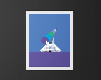 Space Mountain illustration print inspired by Disney World's Space Mountain