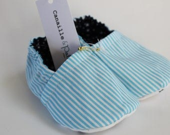Blue and white Poplin striped liner