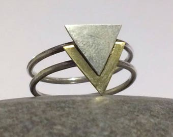 Beautiful double triangle double band boho tribal geometric sterling silver & brass ring choose size