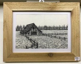 Barn Pen and Ink Framed Drawing