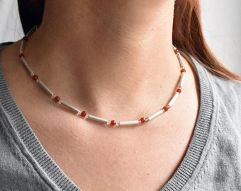 necklace silver with carnelian and rock crystal