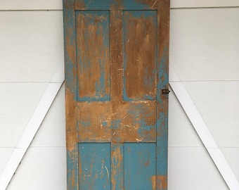 NEW ITEM: Turquiose chippy paint vintage door.