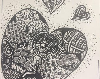 Zentangle Inspired  Hearts for you Love Care Fathers Day Gifts under 50 dollars