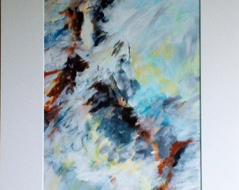 Dancing woman, abstract painting in acrylic on paper