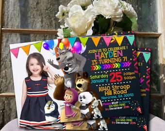 Marsha and the Bear Invitation / Marsha and the Bear Birthday / Marsha and the Bear Party / Marsha and the Bear Card / Marsha