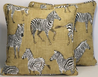 """Zebra Throw Pillows set of 2 18"""" Designer Throw Pillows Zebra Africana Gold Fabric by Ronnie Gold and Forms Decorative Pillow Animal Print"""