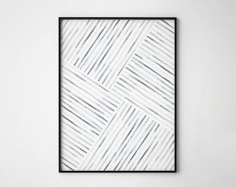 Minimal Art, Geometric Art, Watercolor Lines, Leaf Skeleton, Abstract Art, Art Brush Print, Scandinavian Design, Nature, Stripes