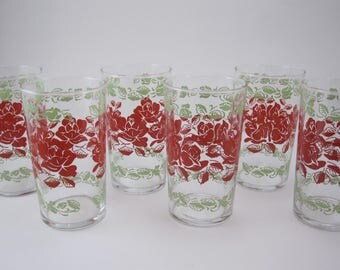 Vintage Glassware with Rose Pattern