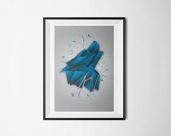 Geometric Wolf A3 Poster Print