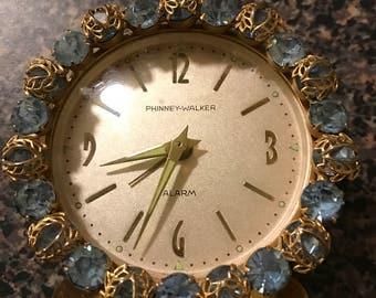Vintage Phinney-Walker Rhinestone Alarm Clock