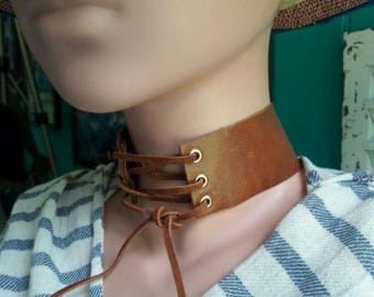 Tan Leather Choker with Magnetic Closure