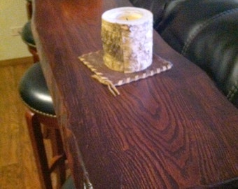 Custom Tables from Nature in Things, Bar Height Table,  Natural Live Edge Wood with Black Pipe Legs for Industrial Style, Ash Live Edge