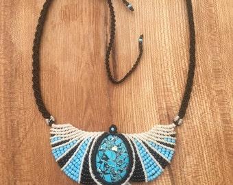 White Black BabyBlue Turquoise macrame Phoenix Necklace/Collar