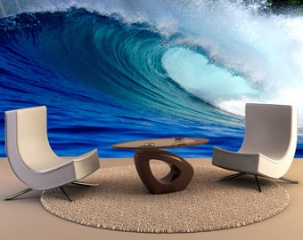 Blue surfing wave Wall Mural, Wall Decal, Removable Wall Wallpaper Wall Mural Wall Decal, Wall Art