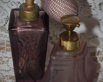 2 Vintage Lavender Perfume Atomizers