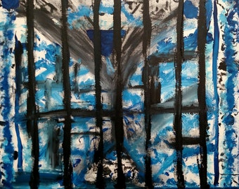 Imprisoned original abstract painting 20 x 16 original art on stretched canvas