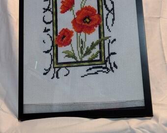 framed flower cross stitching