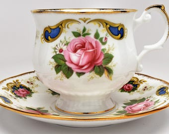 QUEEN'S ROSINA Tea Cup and Saucer ~ Rosina Tea Cups ~ Queen's Rosina Tea Sets ~ Tea Cups and Saucers ~ Balmoral ~ English Tea Cup and Saucer
