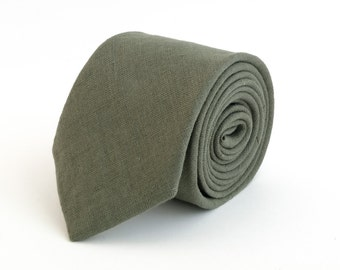 Green linen necktie, wedding necktie, linen necktie,  groomsmen neck, wedding tie, green necktie, green bow tie for men