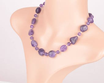 Amethyst necklace, 925 he sterling silver, length 45,5 cm