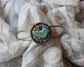 Turquoise and Gold Mosaic Bird Cuff Bracelet