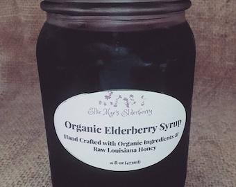 Organic Elderberry Syrup. Cold/Flu Remedy. Daily Supplement. Immune Support. Organic Elderberries, Ginger, Cinnamon, Cloves, Honey