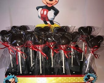 12 Mickey Mouse Inspired Cake Pops Red Black Chocolate Dipped Party Favors