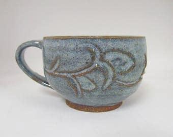 Blue Ceramic Cup / Hand Carved Teacup