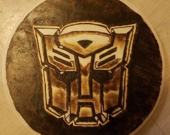 Autobot Transformer Logo Woodburning