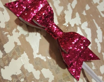 5in double leather bow