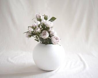 Matte White Round Vase