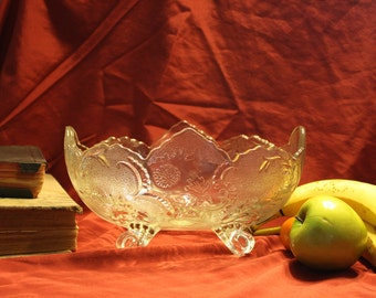 Fruit Bowl Clear Footed Glass
