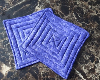 Set of 2 Purple and Silver Quilted Coasters