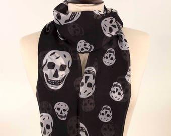 Skull Scarf, Fashion Scarf, Print Scarf, Stylish Scarf, Black Scarf, Gift Scarf, Pirate Scarf, Best Scarf, Black and white Scarf, Soft Scarf