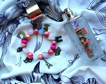 Handmade jewelry Paris Pink beaded bracelet with pendants&semiprecious stones