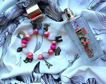 Handmade jewelry Paris Pink beaded bracelet with pendants&semiprecious stones